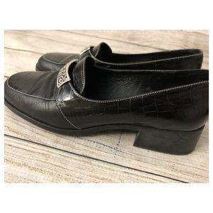 Brighton Sabina Black Leather Croc print Shoes 9 M